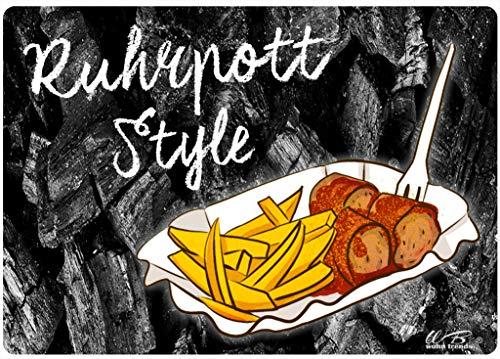 WB wohn trends Holz-Brett, Ruhrpott Style Currywurst Pommes, schwarz, Holz-Schild Wand-Bild Deko-Schild 21x15cm