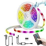 KINGSO LED Strip RGB 5m ip65 Wasserdicht LED Licht Streifen Musik mit Fernbedienung Dimmbar Timerfunktion Sync mit Musik SMD 5050 Leds Lichtband für Deko Haus, Garten, Party