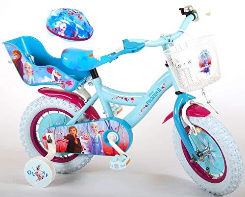 Kinderfahrrad Disney Frozen II - Die Eiskönigin 2 12 Zoll | Rücktrittbremse Korb Puppensitz Fahrradklingel Fahrradhelm Gr. 51-55 cm
