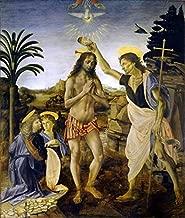 O Batismo de Cristo (1470) - Leonardo da Vinci - 75x88 - Tela em Canvas Para Quadro