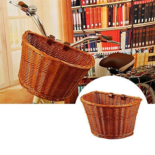 Weidenkorb, Fahrradkorb aus Korbgeflecht, für vorne und hinten, handgefertigt, Retro-Stil, Grundlack, Jungen, per Zufall, Sin glaseado de miel