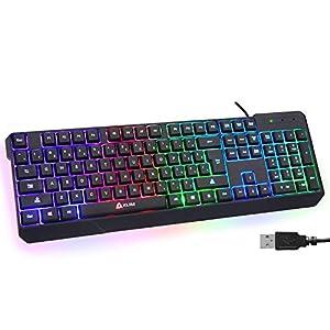 KLIM Chroma Gaming Keyboard Wired USB + Durable, Ergonomic, Waterproof, Silent Keyboard + 2 ms Response Time + Backlit Keyboard for PC Mac PS4 Keyboard + Teclado Gamer + New 2021 Version + Black