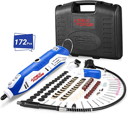 Rotary Tool Kit, APEXFORGE Tool with MultiPro Keyless Chuck and Flex Shaft, 172 Accessories, 4 Attachments & Carrying Case, Combitool for Craft Projects, DIY Creations, Cutting, Engraving-M6