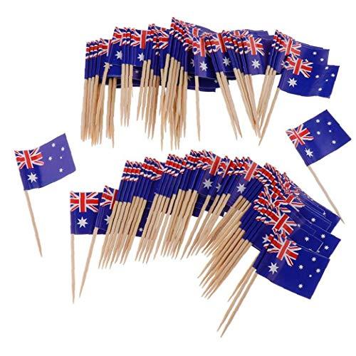lulongyansf 100pcs Australien-Flagge Picks Mini Fruchtcocktail Essen Zahnstocher Sticks Flagge Convenient Versorgung