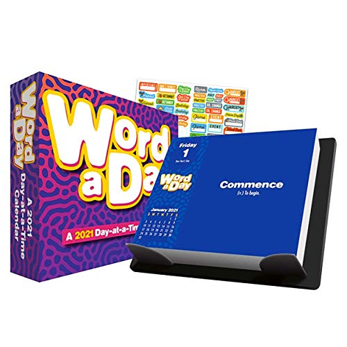 Word of The Day 2021 Calendar Box Edition Bundle - Deluxe 2021 Word of The Day 365 Daily Pages Box Calendar with Over 100 Calendar Stickers