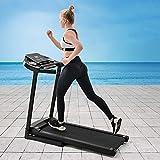 FFKL Cinta De Correr Fitness con Pantalla LED | 1-12 Km/H | 12 Programas | Tablet PC Y Bastidor De Botellas | Plegado Hidráulico,Black