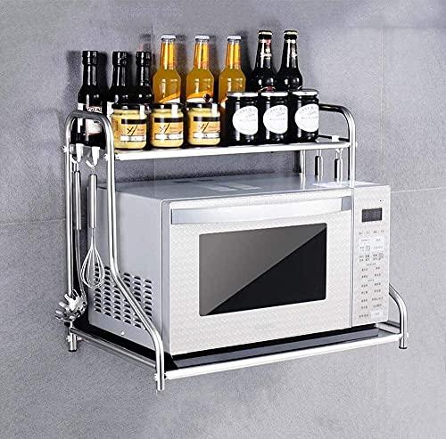 COLiJOL Estante para Alenamiento de Cocina Estante para Horno Microondas para el Hogar Estante para Alenamiento de Cocina Estante para Microondas de Acero Inoxidable Estante para Horno Colgador de Pa