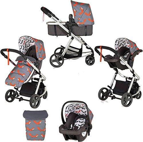 Cosatto Giggle Mix Travel System - Pram & Pushchair, Baby Car Seat, Adaptors, Footmuff (Mister Fox)