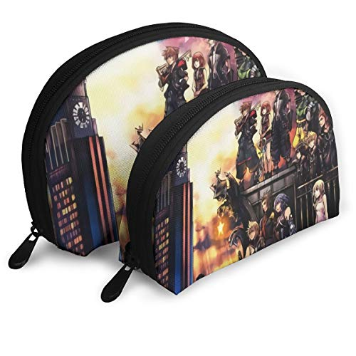 キングダム ハーツIII シェル型バッグ 親子ポーチ 収納袋 メイクポーチ 化粧品バッグ シェルポーチ おしゃれ 小物入れ 収納整理 旅行 便利 かわいい レディース メンズ クラッチバッグ 多機能 ファスナー 二点セット