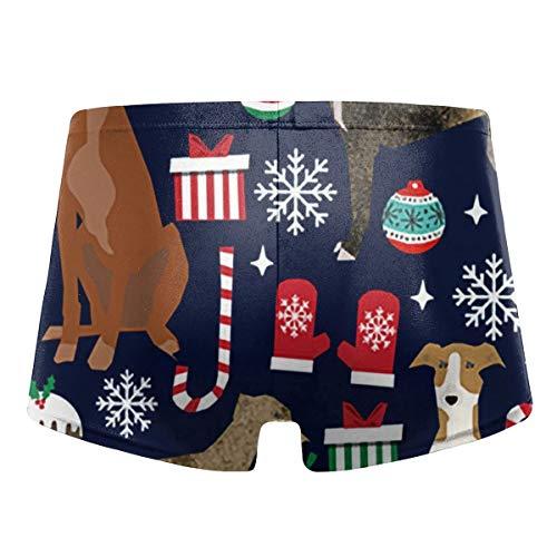 Johnson hop Greyhound Christmas Dog Men's Swim Trunks Briefs Underwear Shorts(XL,Black)