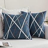 MIULEE Fundas de cojín para sofá Gamuza Sintética Almohada Caso de Diseño Geométrico Decorativas Fundas Cojines 18 x 18inch 45 x 45cm 2 Pieza Helado Azul