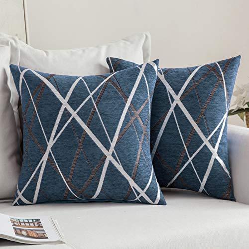 MIULEE Confezione da 2 Fodere per Cuscini Decorative Federe Copricuscini Stampati Arredi per Casa Divano Camera da Letto17.5inch/44.5cm Blu Modello B