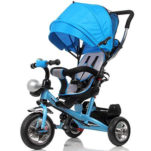 BAKAJI Triciclo Passeggino per Bambini a Pedali e Spinta 3in1 con Sediolino Girevole a 360 Gradi Imbottito Cinture di Sicurezza Manico Direzionabile e Tettuccio Cappottina Parasole (Blu)