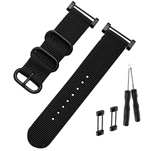 Octane Bands Suunto Core Watch Band - Nylon Canvas Strap Replacement Kit Black - 24mm NATO Zulu Strap - Includes Lugs Adapter & Screw Tools