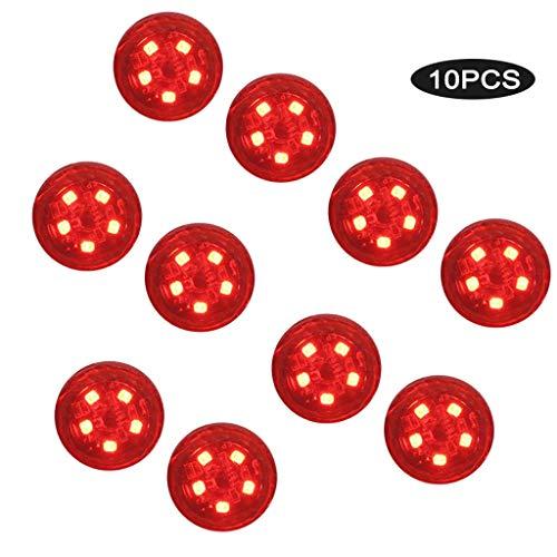 10 Pack LED Warnleuchte Warnblinkleuchte Auto Warnlicht Straßenblinklicht,Magnetfuß-Wasserdicht Kabellos Antikollisions Sicherheitswarnleuchten Auto Ein/Aus (Rot)
