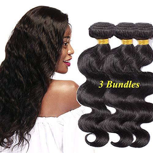 Extensiones de Cabello Natural de Cortina Cosida Pelo Humano 100% Remy Brazilian Human Hair Bundles Brasileño Virgen Rizado Ondulado #1B Negro Natural 3Piezas(25cm+30cm+35cm)