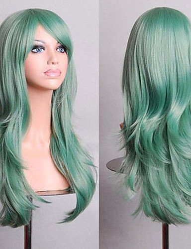 Perruque tendance pour cheveux européens de 70 cm de long - Vert menthe - Volume d'air - Perruque de haute température