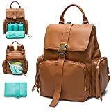 Diaper Bag Backpack Mominside, Leather Backpack for Women, Travel Baby Bag with 15 Pockets Baby Registry Search, Changing mat,Large Capacity for Wet Clothes,4 Insulated Pockets Brown