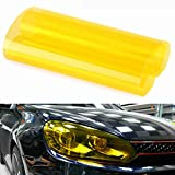 Scheinwerfer Folie Tönungsfolie Auto Wasserdicht Aufkleber 120cm x 30cm für Auto Scheinwerfer Rückleuchten Blinker Nebelscheinwerfer (Gelb)