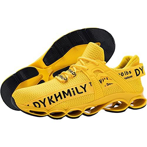 DYKHMATE Chaussure de Securite Homme Femme TPU Legere Respirant Baskets de Sécurité Embout Acier Chaussures de Travail Antidérapante (Jaune,38 EU)