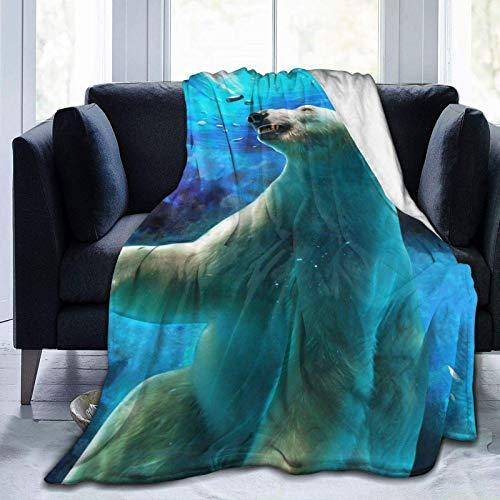 LINGF Flannel Twin Size Blanket Cute Underwater Polar Bear Plush Warm Bed Blanket Soft Throw Blanket Fits Couch Sofa 60x50 Microfiber