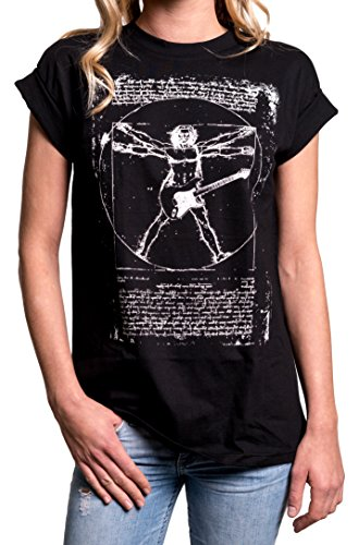 MAKAYA Ovesize Top Musica Punk Rock Tallas Grandes - Da Vinci Guitarra - Camiseta Manga Corta Mujer Negro M