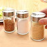 Conjuntos de contenedores de vidrio Salero de sal, cocina, barbacoa, contenedores, especias, especias, tarro de almacenamiento, ms, conjunto de cajas de condimento (Color : 3 piece set)