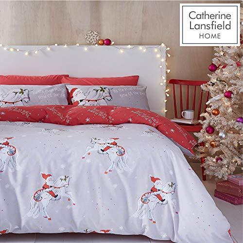 Catherine Lansfield Christmas Unicorn Easy Care Single Duvet Set Grey
