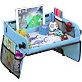 Kids Travel Tray - Toddlers Car Seat Tray Organizer -Tablet and Cup Holder