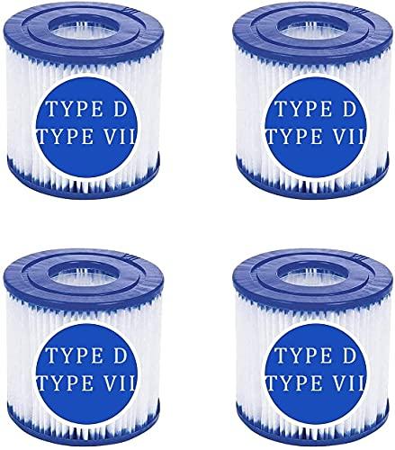 Filterkartusche Pool Typ D, Filterpatrone für Intex Typ D & für Bestway Typ VII für Summer Waves Poolpumpe Filter für SFS-350, SFS-600, RP-350, RX-600 (4 Stück)
