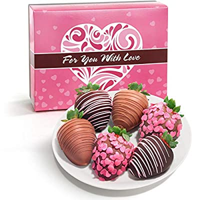 6 Belgian Chocolate Covered Love Strawberries in Mother's Day Gift Box