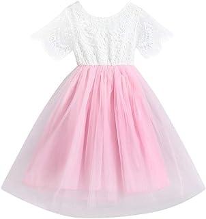 BSGSH 2pcs Summer Toddler Baby Girls Ruffle Short Sleeve T Shirt Tops+Tulle Skirt Dress Casual Clothes