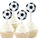 iMagitek 48 Pack Soccer Ball Cupcake Toppers Decorations for Soccer Ball Theme Party, Birthday Party, Baby Shower
