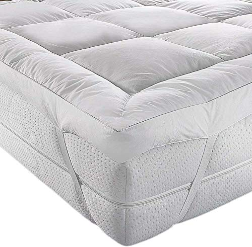Jennifer jd Davidson Mattress Topper King Size Bed (150X200cm) 5cm Extra Thick Microfiber (Microlite) 230 thread count Box Stitched Non Noisy Anti-Allergy & Breathable By Adam Home