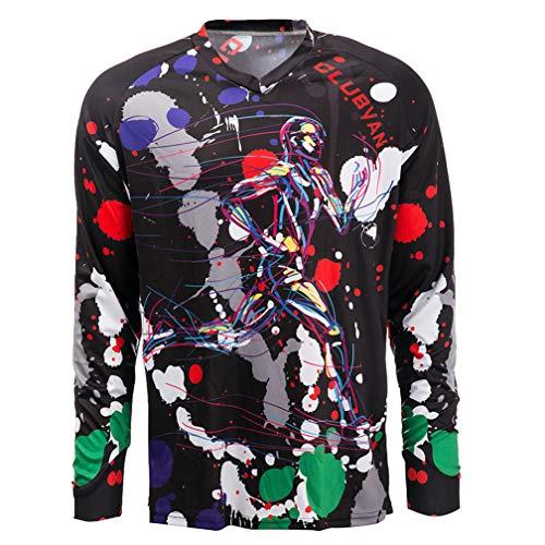 Radtrikot Herren Mountainbike Motocross Trikot Langarm MTB T-Shirt Downhill Tops Sport Rennbluse Fahrrad Outdoor Wear rot XXXL