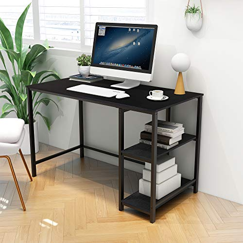 Computer Desk with Shelves 47 Inch Writing Desk Home Office Desk Study Table Work with 2 Layer Storage (Black+Black Oak