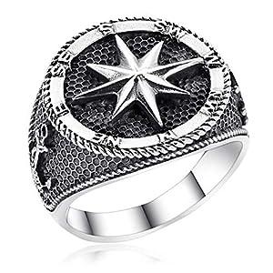 MATERIA Herrenring Kompass Silber 925 breit - Siegelring Herren Ringe 21,3mm Windrose Nautischer Stern antik schwarz SR-15-67