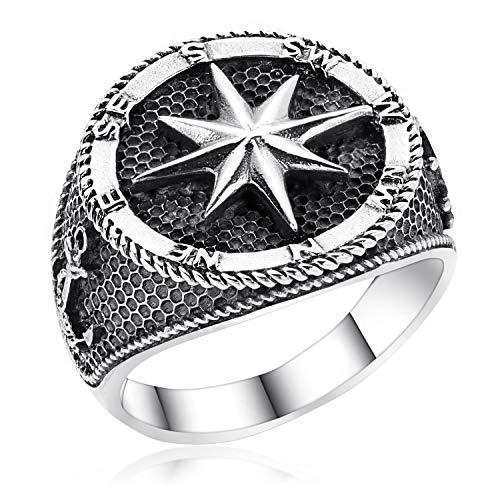 Materia, anello da uomo in argento 925 largo, con sigillo con rosa dei venti, stella nautica anticata, nero 18-22 mm e Argento, 70 (22.3), colore: argento, cod. SR-15
