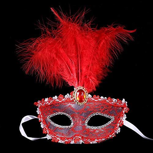 JASIN Feder-Maske, Feder-Spitze-Partei-Maskerade-Maske Für Prom-Partei-Stab Halloween-Weihnachtsfest,Rot