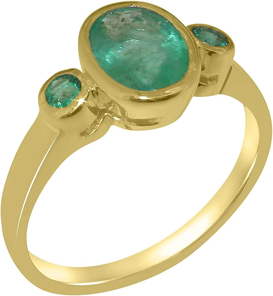 Solid 14k Yellow Gold Natural Emerald Womens Trilogy Ring - Sizes 4 to 12 Available