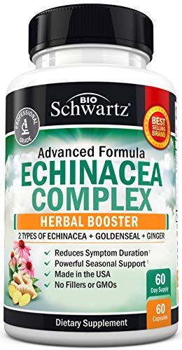 Echinacea Complex with Goldenseal - Herbal Immune Booster Supplement with Ginger, & 2 Types of Echinacea - Reduces Symptom Duration with Germ Fighting Properties - 60 Capsules