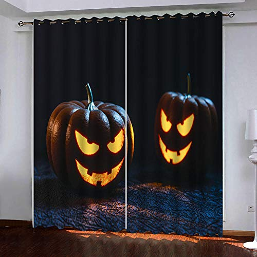 Anvvsovs3D Digital Halloween Creative Skull Curtains, Polyester Quick-Drying Curtains, Blackout Gauze Curtains For Living Room And Bedroom, Bay Window (Two Pieces) (W) 170X(H) 200Cm -Living Room Cur