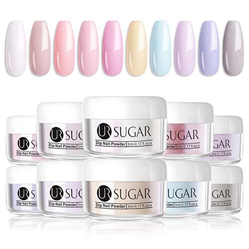 UR SUGAR 5g Acryl Puder Nail Farbe Dip System Acryl Nagel Pulver Natural Dry Dipping Nail Powder 10 Farben Kit (Süßigkeiten)