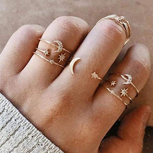 Simsly Vintage Halbmond-Ring-Set Stern Kunckle Ringe Gold stapelbar Gelenk Fingerringe Set Nagel Zubehör Schmuck für Frauen und Mädchen (7 Stück)