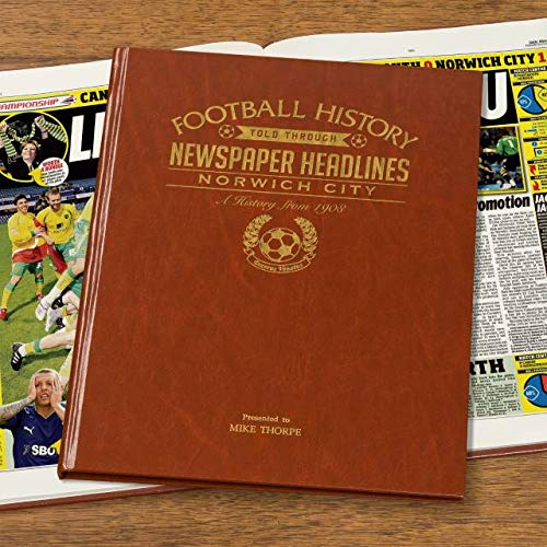 Signature gifts Premium Personalised Football Newspaper Book - Norwich City FC