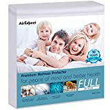 "AirExpect Waterproof Mattress Protector Full Size 100% Cotton Hypoallergenic Breathable Mattress Pad Cover, Deep Pocket, No Vinyl - 54""x75"""