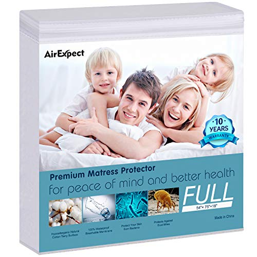 """AirExpect Waterproof Mattress Protector Full Size 100% Cotton Hypoallergenic Breathable Mattress Pad Cover, Deep Pocket, No Vinyl - 54""""x75"""""""