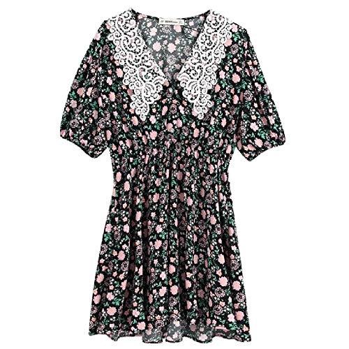 NOBRAND Jurken Vrouwen Elegante Kant Gehaakte Kraag Bloem Print Casual Slanke Kimono Jurk