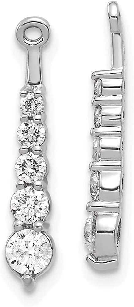 14k White Gold 5-Stone Dangle Diamond Earring Jacket Mountings 20mm 4mm style EJM5338-062-W