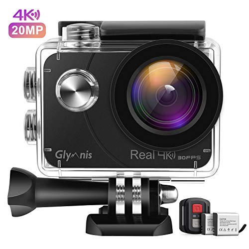 Glymnis Action Cam Echte 4K 20MP Sport Action Kamera Touchscreen EIS Actioncam 40M Wasserdicht Unterwasserkamera WiFi Fernsteuerung Helmkamera Full HD mit 2 1350mAh Akkus und 27 Zubehör